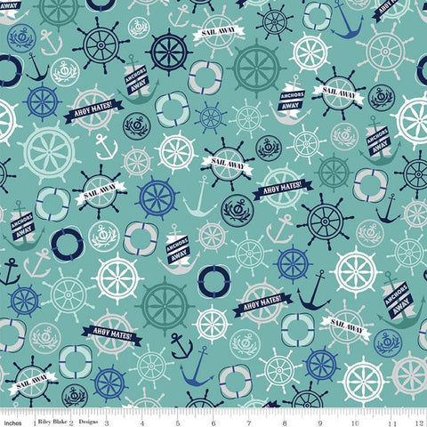 Deep Blue Sea Anchors Teal - Riley Blake Designs - Anchors Life Preservers Ship Wheels Blue Green -  Quilting Cotton Fabric