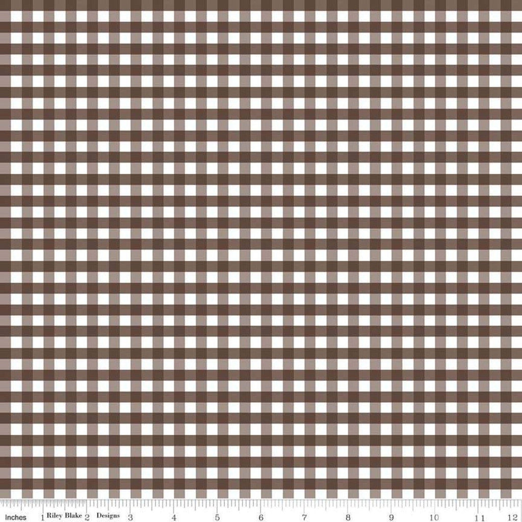 "SALE Brown and White Medium PRINTED Gingham 1/4"" Quarter Inch - Riley Blake Designs - Checker - Quilting Cotton Fabric"