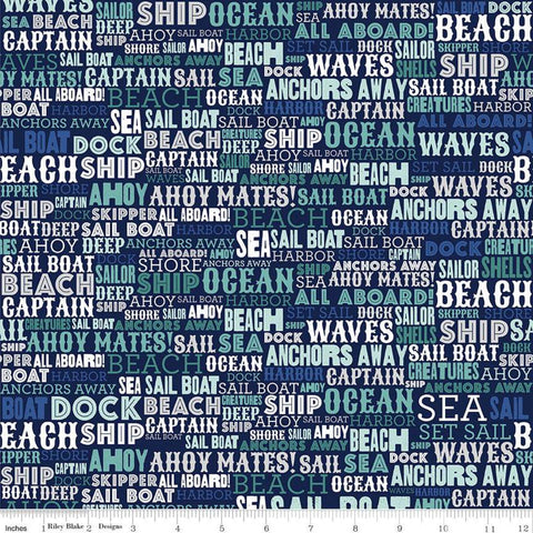 SALE Deep Blue Sea Text Navy - Riley Blake Designs - Nautical Words Blue White  - Quilting Cotton Fabric