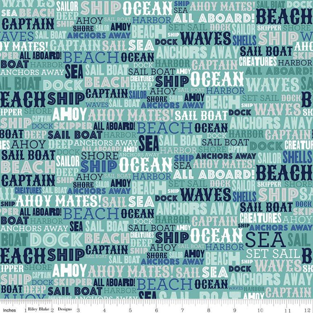 Deep Blue Sea Text Teal - Riley Blake Designs - Nautical Words Blue Green White  - Quilting Cotton Fabric - end of bolt pieces