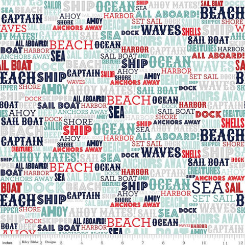 Deep Blue Sea Text White - Riley Blake Designs - Nautical Words -  Quilting Cotton Fabric