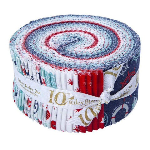 Deep Blue Sea 2.5-Inch Rolie Polie Jelly Roll 40 pieces Riley Blake Designs - Precut Bundle - Ocean Nautical - Quilting Cotton Fabric