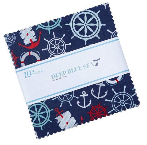"SALE Deep Blue Sea Charm Pack 5"" Stacker Bundle - Riley Blake Designs - 42 piece Precut Pre cut - Nautical Ocean - Quilting Cotton Fabric"