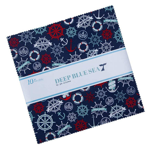 "SALE Deep Blue Sea Layer Cake 10"" Stacker Bundle - Riley Blake Designs - 42 piece Precut Pre cut - Nautical Ocean - Quilting Cotton Fabric"