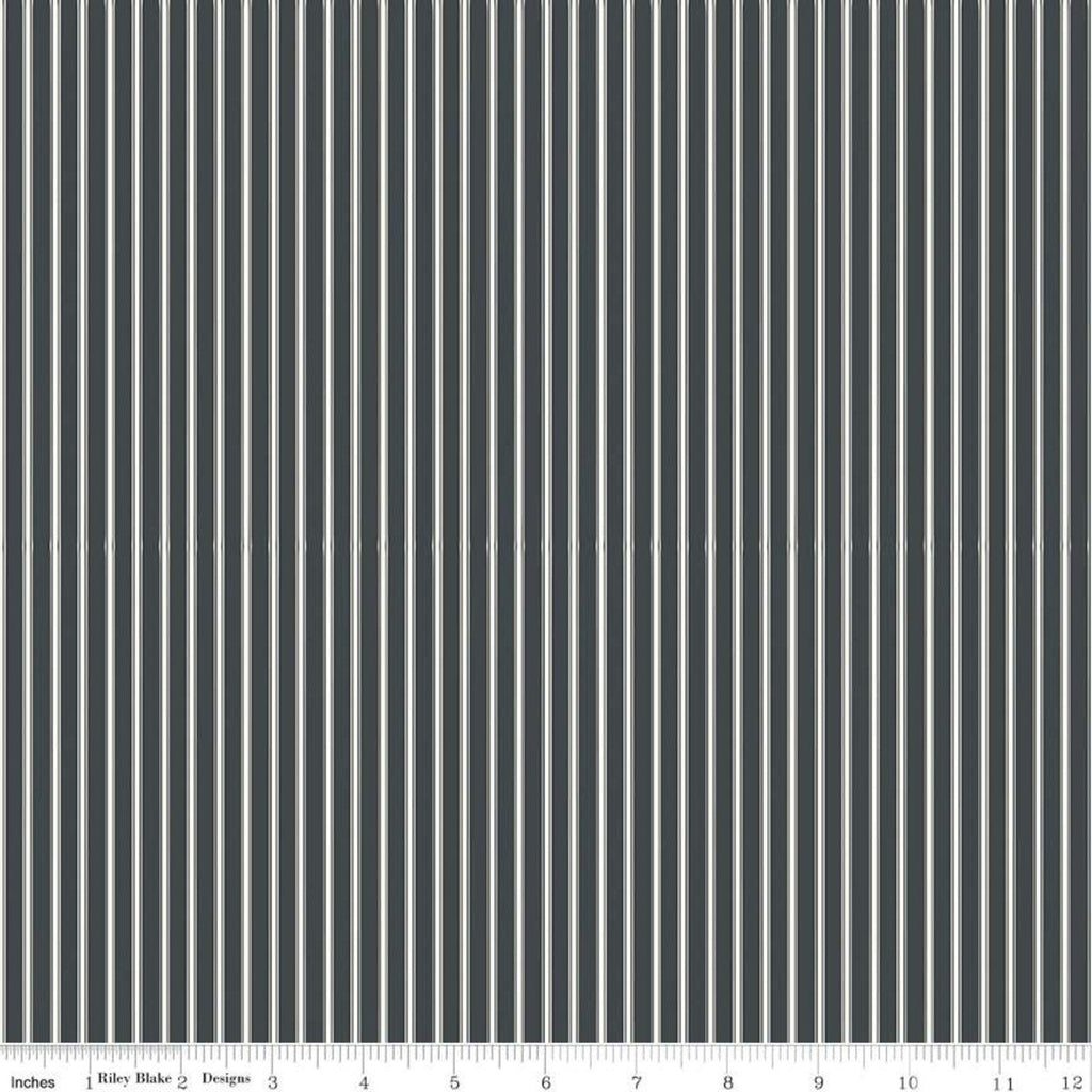 Gingham Farm Stripes Charcoal - Riley Blake Designs - Gray Cream Striped Stripe - Quilting Cotton Fabric