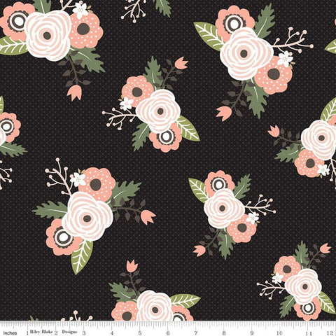 Modern Farmhouse Main Black SPARKLE - Riley Blake Designs - Tiny Plus Floral Rose Gold Metallic - Quilting Cotton Fabric - choose cut