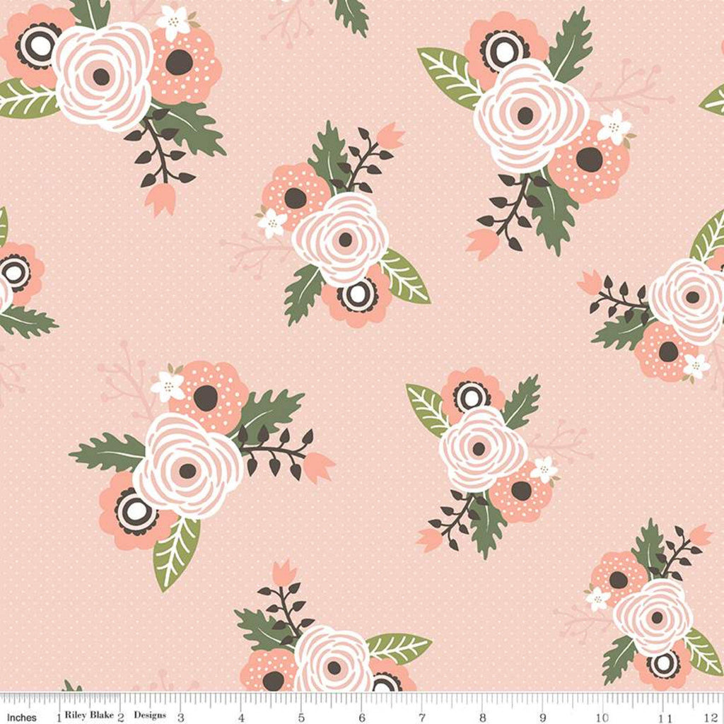 Modern Farmhouse Main Coral SPARKLE - Riley Blake Designs - Tiny Plus Floral Rose Gold Metallic - Quilting Cotton Fabric - choose cut