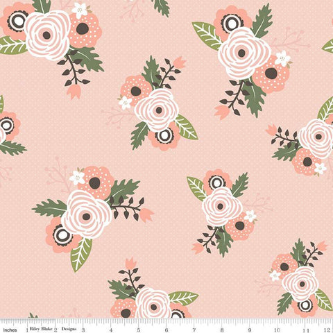 SALE Modern Farmhouse Main Coral SPARKLE - Riley Blake Designs - Tiny Plus Floral Rose Gold Metallic - Quilting Cotton Fabric - choose cut