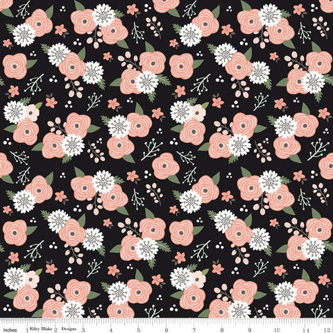 SALE Modern Farmhouse Floral Black SPARKLE - Riley Blake Designs - Flowers Rose Gold Metallic - Quilting Cotton Fabric - choose your cut