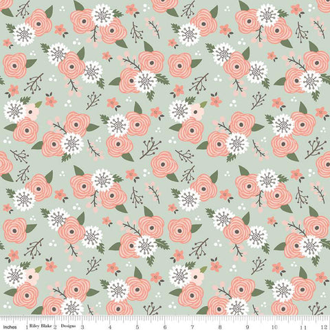 SALE Modern Farmhouse Floral Sage SPARKLE - Riley Blake Designs - Green Flowers Rose Gold Metallic - Quilting Cotton Fabric - choose cut