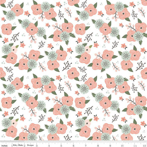 SALE Modern Farmhouse Floral White SPARKLE - Riley Blake Designs - Coral Flowers Rose Gold Metallic - Quilting Cotton Fabric - choose cut