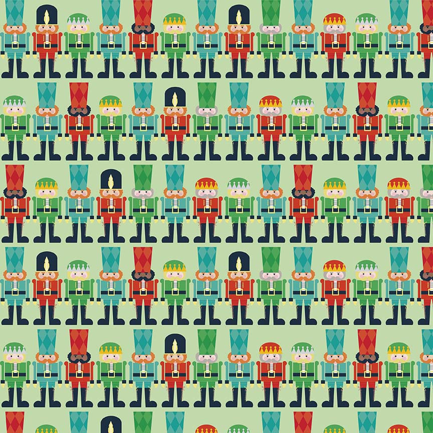 CLEARANCE Nutcracker Christmas Mini Nutcrackers Green by Riley Blake Designs - Christmas - Quilting Cotton Fabric - by the yard