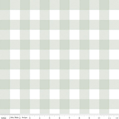 Modern Farmhouse Buffalo Check Sage - Riley Blake Designs - Green White Large PRINTED Gingham Checkered Checks - Quilting Cotton Fabric