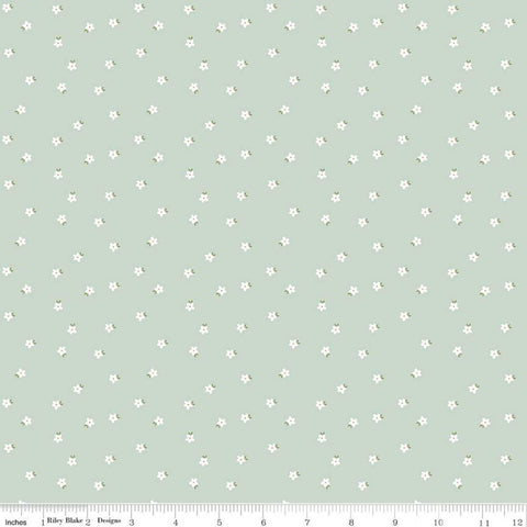 Modern Farmhouse Mini Floral Sage - Riley Blake Designs - White Flowers on Green - Quilting Cotton Fabric