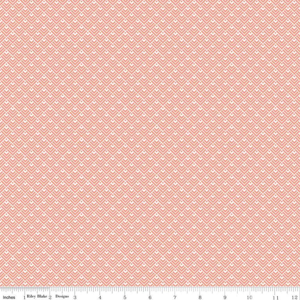Modern Farmhouse Geometric Coral SPARKLE - Riley Blake Designs - Rose Gold Metallic White - Quilting Cotton Fabric - choose your cut