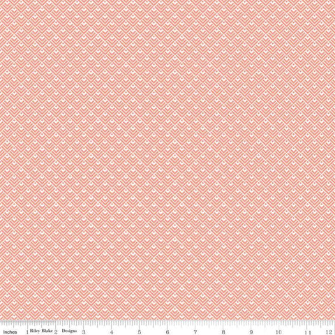 SALE Modern Farmhouse Geometric Coral SPARKLE - Riley Blake Designs - Rose Gold Metallic White - Quilting Cotton Fabric - choose your cut