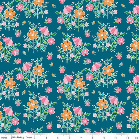 Play Outside Main Navy - Riley Blake Designs - Flowers Floral Blue - Quilting Cotton Fabric