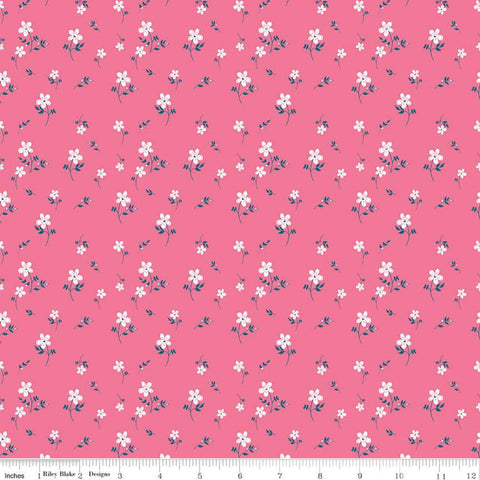 "Play Outside Flowers Pink - Riley Blake Designs - White Flower Floral - Quilting Cotton Fabric - 1 yard 11"" end of bolt piece"