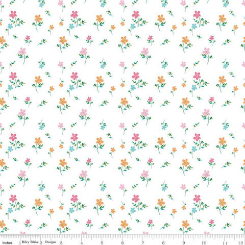 Play Outside Flowers White - Riley Blake Designs - Flower Floral - Quilting Cotton Fabric