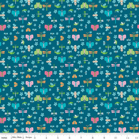 Play Outside Bugs Navy - Riley Blake Designs - Butterflies Dragonflies Flowers Blue  - Quilting Cotton Fabric
