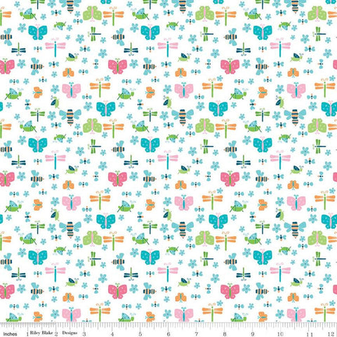 Play Outside Bugs White - Riley Blake Designs - Butterflies Dragonflies Flowers - Quilting Cotton Fabric