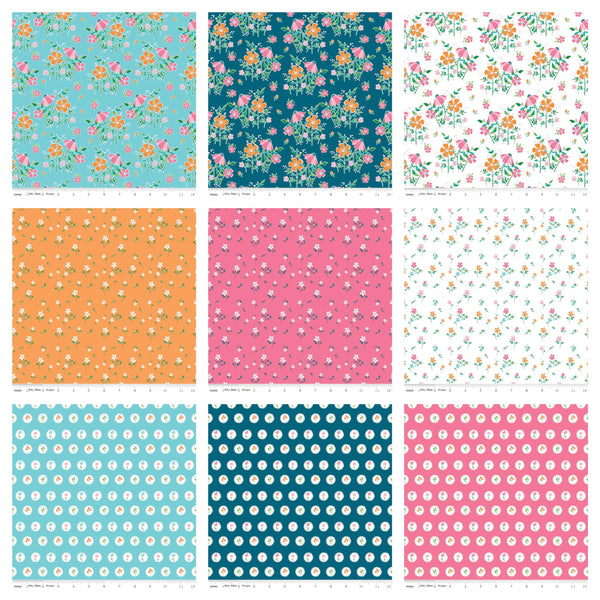 "SALE Play Outside Layer Cake 10"" Stacker Bundle - Riley Blake Designs - 42 piece Precut Pre cut - Floral - Quilting Cotton Fabric"