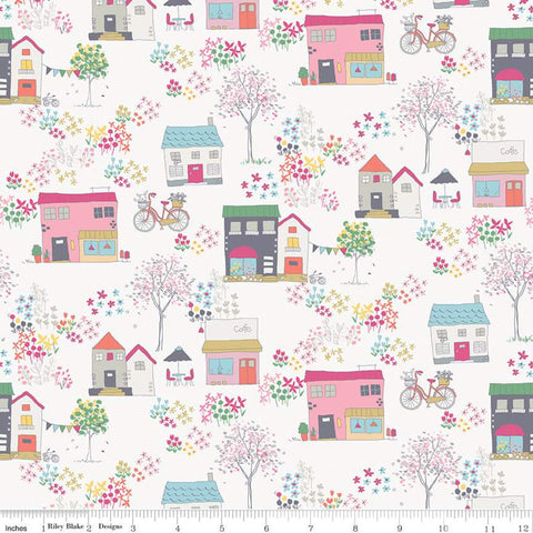 Moments Houses Cream - Riley Blake Designs - Buildings Shops Bicycles Floral Flowers - Quilting Cotton Fabric