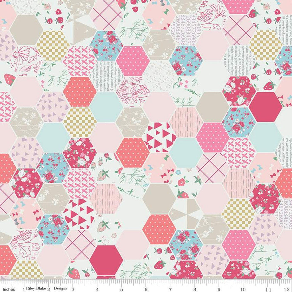 Moments Hexagon Pink - Riley Blake Designs -  Geometric Hexagons Hexies Cream Pink Blue - Quilting Cotton Fabric