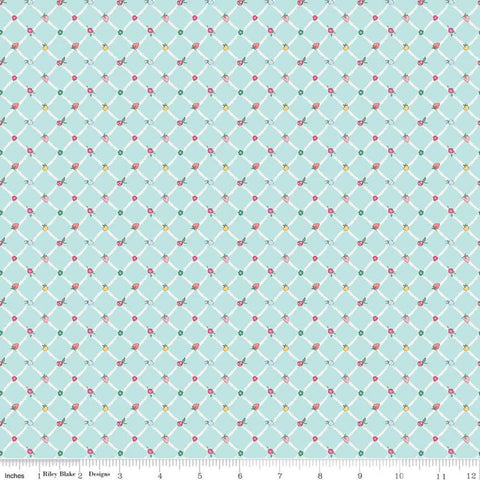 Moments Crosswalk Aqua - Riley Blake Designs -  Blue Geometric Diagonal Lattice Fruit - Quilting Cotton Fabric