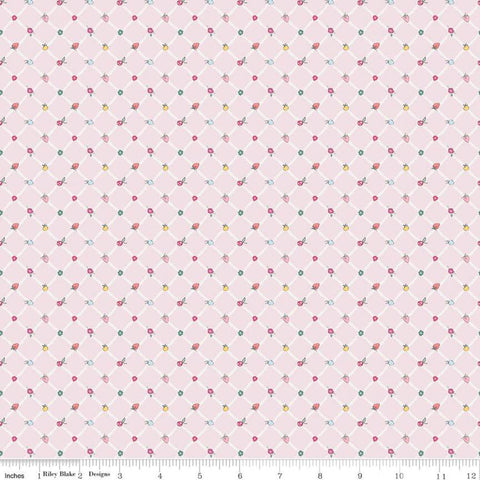Moments Crosswalk Pink - Riley Blake Designs -  Geometric Diagonal Lattice Fruit - Quilting Cotton Fabric