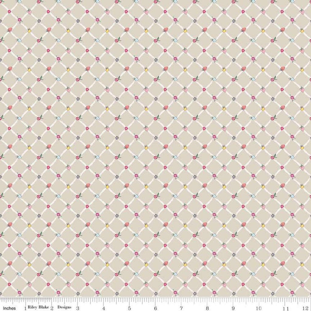 Moments Crosswalk Tan - Riley Blake Designs -  Geometric Diagonal Lattice Fruit - Quilting Cotton Fabric