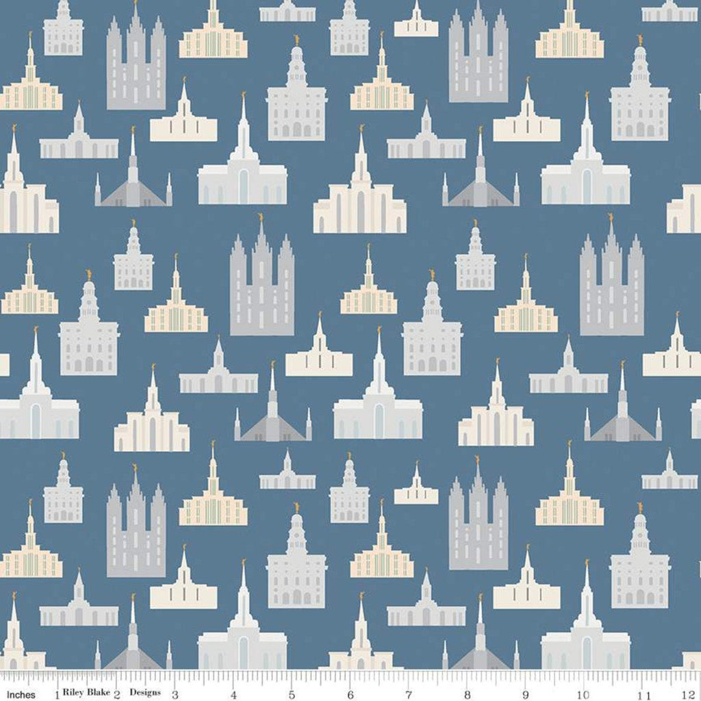 SALE Called to Serve Temple Blue SPARKLE - Riley Blake Designs - Missionary Mission Temples  Gold SPARKLE - Quilting Cotton Fabric
