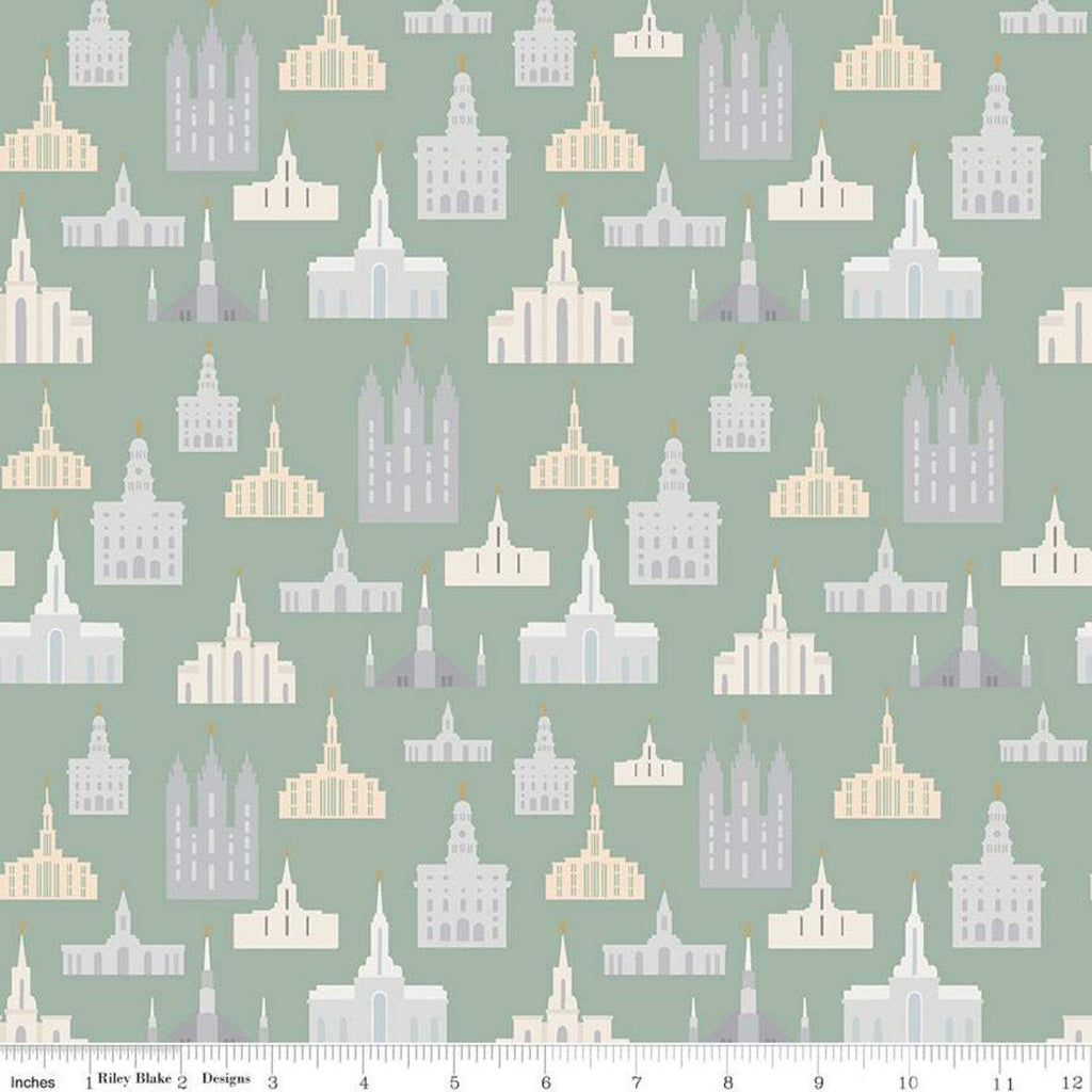 Called to Serve Temple Sage SPARKLE - Riley Blake Designs - Missionary Mission Temples Green Gold METALLIC - Quilting Cotton Fabric