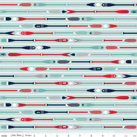 SALE Deep Blue Sea Oars Aqua - Riley Blake Designs - Stripes Striped Rope Blue White - Quilting Cotton Fabric