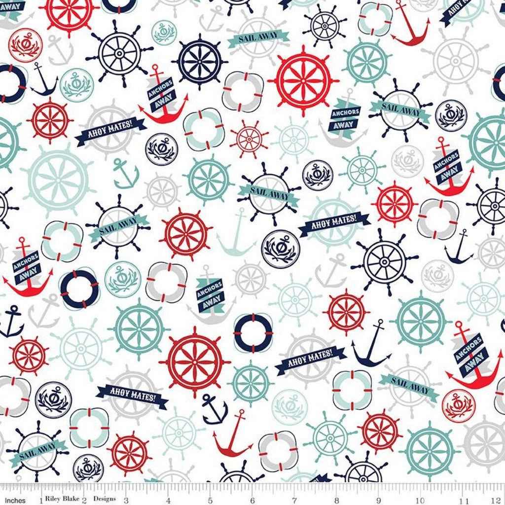 "Deep Blue Sea Anchors White - Riley Blake Designs - Anchors Ship Wheels Life Preservers  - Quilting Cotton Fabric - 34"" end of bolt piece"