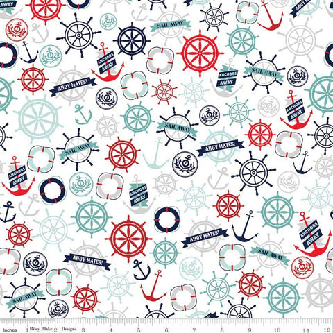 Deep Blue Sea Anchors White - Riley Blake Designs - Anchors Ship Wheels Life Preservers  - Quilting Cotton Fabric
