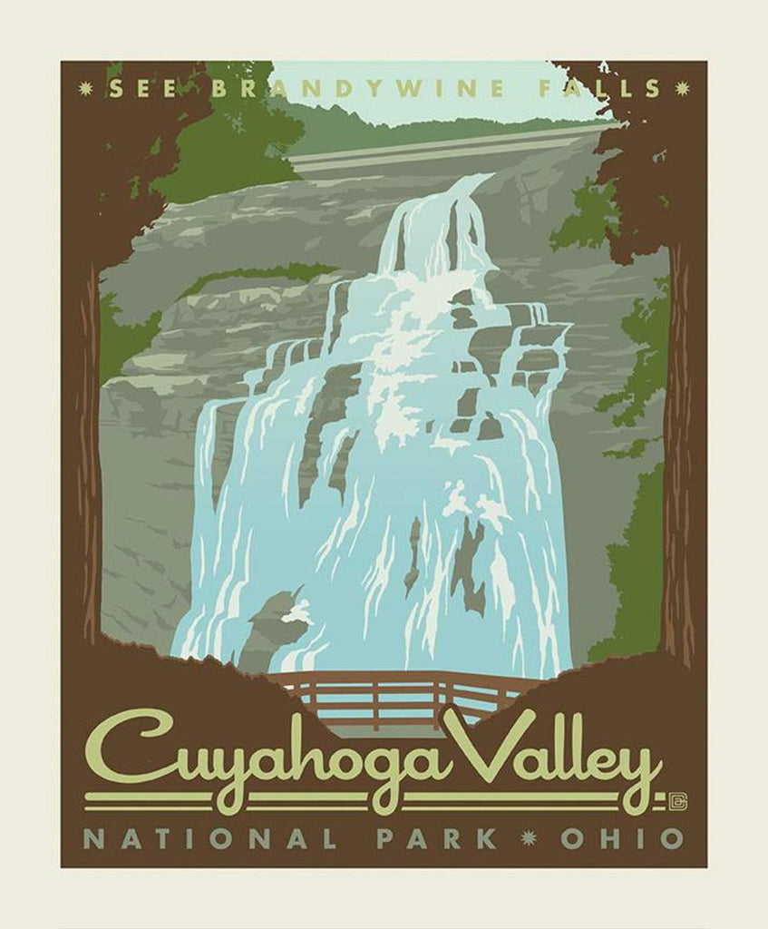 National Parks Poster Panel Cuyahoga Valley by Riley Blake Designs - Brandywine Falls Ohio Recreation - Quilting Cotton Fabric