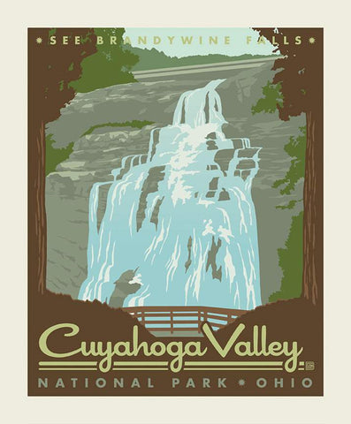 SALE National Parks Poster Panel Cuyahoga Valley by Riley Blake Designs - Brandywine Falls Ohio Recreation - Quilting Cotton Fabric