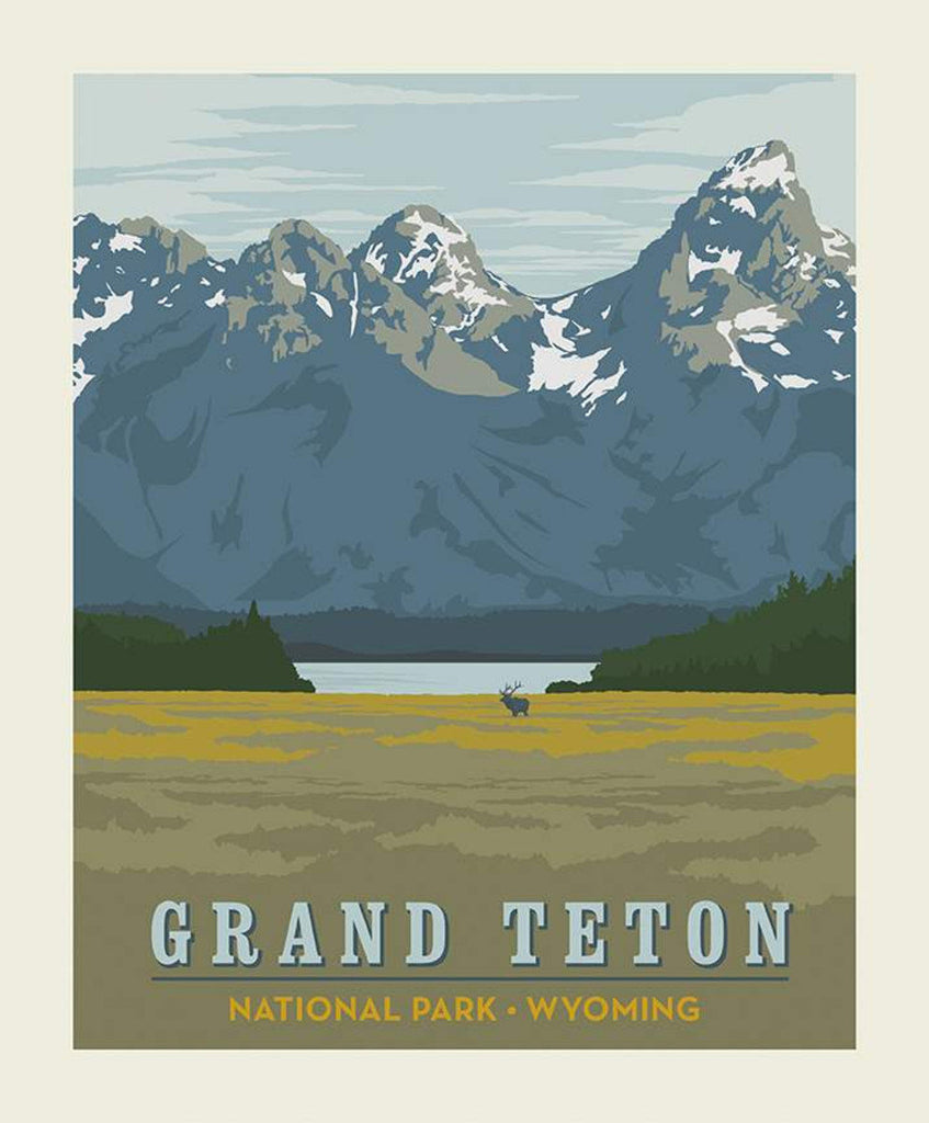 SALE National Parks Poster Panel Grand Teton by Riley Blake Designs - Wyoming Mountains Lake Wildlife Recreation - Quilting Cotton Fabric