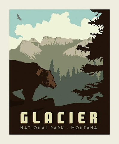 National Parks Poster Panel Glacier by Riley Blake Designs - Montana Mountains Bear Wildlife Recreation - Quilting Cotton Fabric
