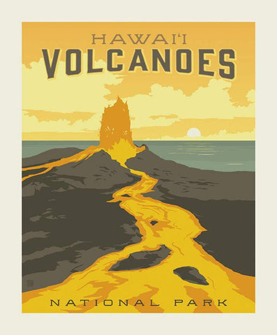 SALE National Parks Poster Panel Hawaii Volcanoes by Riley Blake Designs - Hawai'i Lava Recreation - Quilting Cotton Fabric