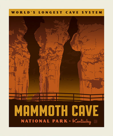 SALE National Parks Poster Panel Mammoth Cave by Riley Blake Designs - Kentucky Caves Forest Recreation - Quilting Cotton Fabric