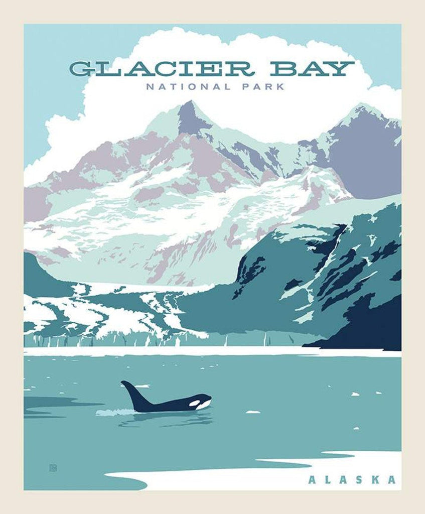 SALE National Parks Poster Panel Glacier Bay by Riley Blake Designs - Outdoors Recreation Alaska - Quilting Cotton Fabric