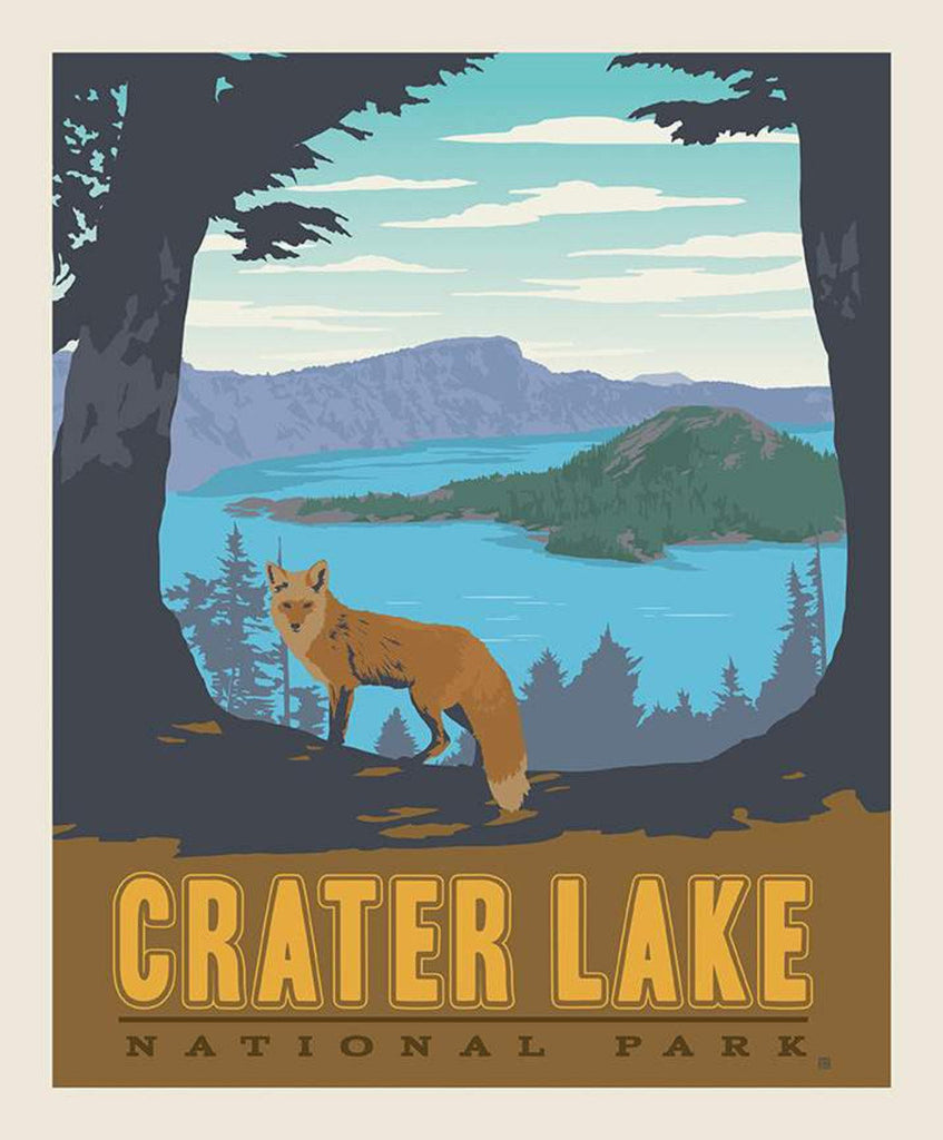 National Parks Poster Panel Crater Lake by Riley Blake Designs - Outdoors Recreation Oregon Mountain Wolf - Quilting Cotton Fabric