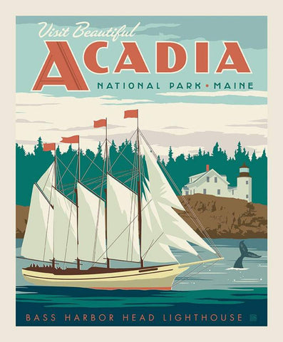 SALE National Parks Poster Panel  Acadia by Riley Blake Designs - Outdoors Bass Harbor Head Lighthouse Maine - Quilting Cotton Fabric