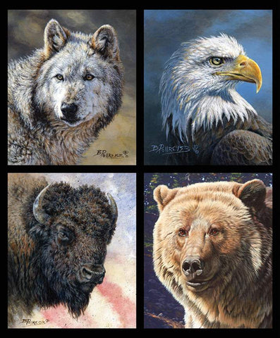 Wild and Beautiful Pillow Panel by Riley Blake Designs - Outdoors Recreation Wildlife Eagle Bear Bison Wolf - Quilting Cotton Fabric