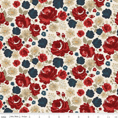 American Legacy Main Cream - Riley Blake Designs - Floral Flowers Patriotic Independence Day - Quilting Cotton