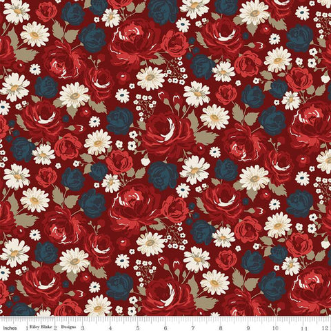 American Legacy Main Red - Riley Blake Designs - Floral Flowers Cream Patriotic Independence Day - Quilting Cotton Fabric - choose your cut