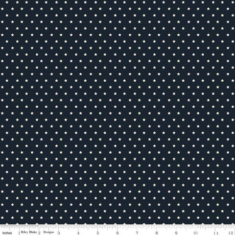 SALE American Legacy Stars Navy - Riley Blake Designs - Cream Stars on Blue Patriotic Independence Day - Quilting Cotton Fabric - choose cut
