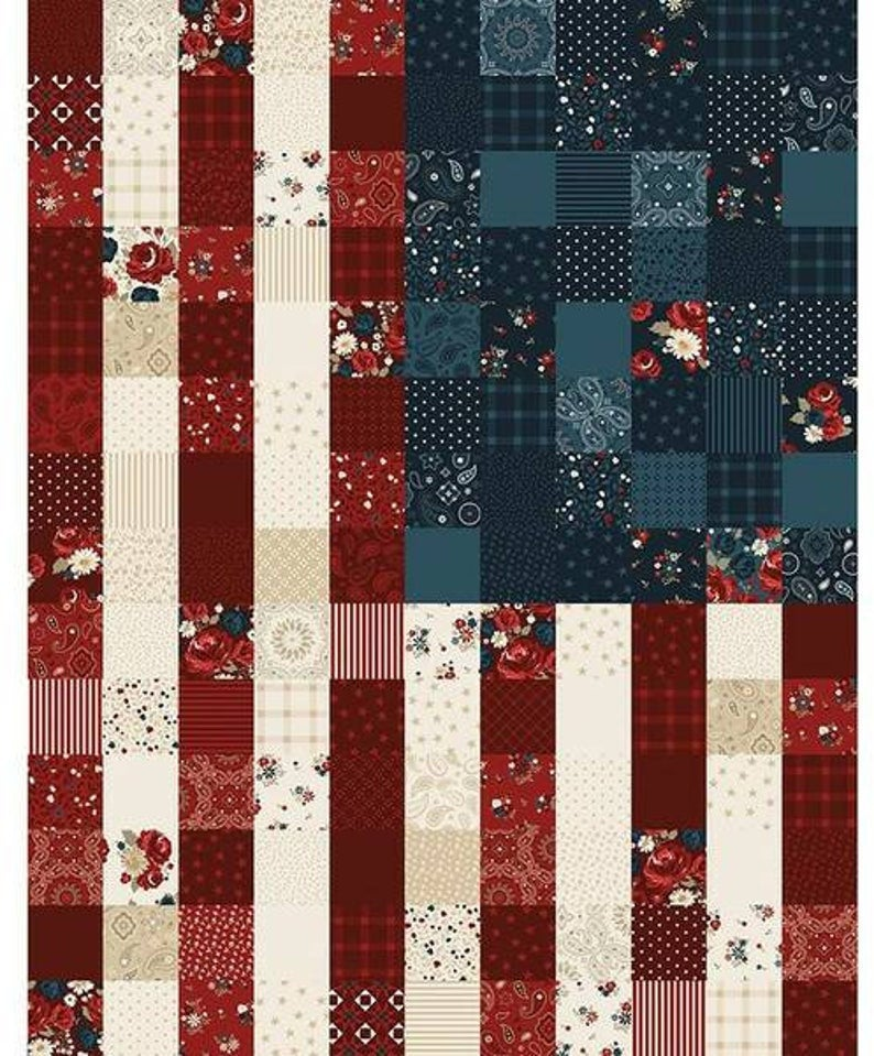 American Legacy Flag Panel Multi - Riley Blake Designs - Patriotic Independence Day Red Blue Cream - Quilting Cotton Fabric